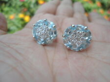 Natural Sky Blue TOPAZ & white CZ Stones Sterling 925 Silver Stud EARRINGS