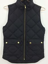 J Crew Quilted Down Vest Women's Size XXS Black Gold tone Hardware