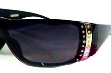 Womans Black Foster Grant Santa Cruz Rhinestone Glitter Wrap Sunglasses 100%UV
