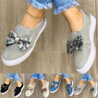 Damen Sneaker Loafers Schleife Flache Schuhe Freizeitschuhe Halbschuhe Turnschuh