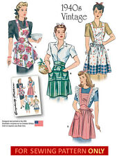 SEWING PATTERN! MAKE VINTAGE STYLE APRONS! FULL & HALF! FORTIES/40S! FIFTIES/50S