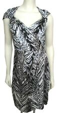 NWT Kay Unger Black Gray Silk Dress $350 Animal Print 8 Sleeveless M Faux Wrap
