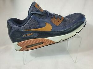 Nike Air Max 90 Premium Mens 700155-404 Thunder Blue Brown Running Shoes Sz 12