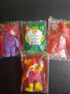 4 McDonald's Beanie toys:Spike, Grimace, Birdie, 25th Happy Meal Bear, unopened.