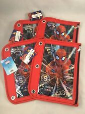 Marvel Spider-man 3 Hole Pencil Binder Pouch Case - Lot of 4