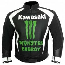 KAWASAKI MONSTER BLACK COWHIDE RACING MOTORCYCLE LEATHER JACKET WITH SAFETY PADS
