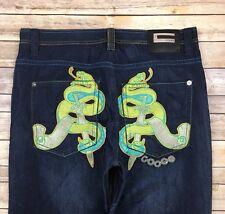 COOGI JEANS Men's Embroidered Snake Sword Dark Straight Leg Baggy Jeans 40 X 33