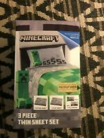 Minecraft Creeper Twin Sheet Set 3 Piece BRAND NEW NEVER USED