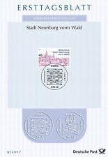 BRD 2017: Stadt Neunburg vorm Wald 1000 Jahre! Ersttagsblatt der Nr 3290! 1705