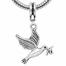 Flying Dove Bird Charm Dangle Charm European Bead Compatible for Most European S