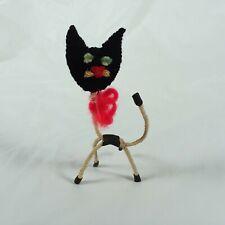 Vintage Black Cat Felt and Metal Decor Piece Spooky Halloween Small Decor Piece