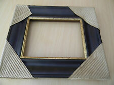 Solid Wood Picture Frame very dark brown gold-tone trim New