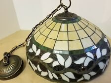 antique leafed/stsin glass hanging lamp, new electrical