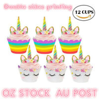 UNICORN CUPCAKE TOPPERS WRAPPERS 12 SETS BIRTHDAY PARTY CAKE DECORATIONS KIDS