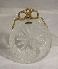 Antique Ormolu Gilt Bronze Handled Cut Glass Ashtray Bowl Snakes