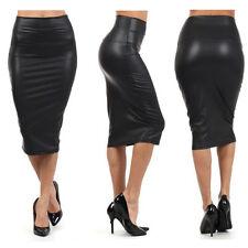 Faux Leather High Waisted Back Split Midi Pencil Skirt Party PU PVC Knee Length