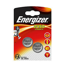 2 x Energizer 2450 Batteries Lithium Battery 3V Button/Coin Cell CR 2450 DL2450