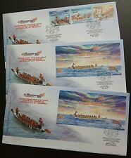 2008 Malaysia Dragon Boat 3v Stamps + MS + imperf MS on 3 FDC (Melaka, P Pinang)