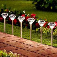 10 x Solar White LED Diamond Stake Lights Garden Border Lanterns Stainless Steel