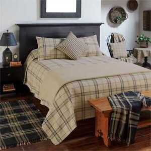 3pc FIELDSTONE PLAID Farmhouse Bedspread/Cover Black/Oatmeal Tan - Park Designs