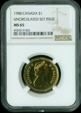 1988 CANADA $1 UNCIRCULATED SET ISSUE NGC MS65