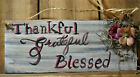 Small Door Hanger Thankful Grateful Blessed Quote Art by Rain Crow