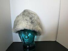 Eddie Bauer Vintage Genuine Iceland Sheepskin Shearling Hat Large Grey USA