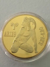 ARIES Star Sign Zodiac Gold Plated Coin For you & Loved ones great as a gifts