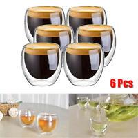 6Pcs 80ml 2.7oz Glass Double Walled Heat Insulated Tumbler Tea Cup Coffee Mug