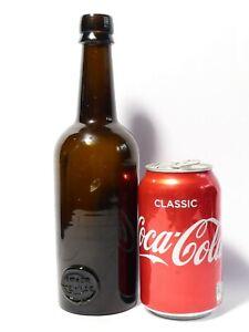 c1860 INNER TEMPLE Brown Glass Sealed Wine Bottle NOT freeblown #1