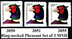 Ring-Necked Pheasant Set of 3 Types Scott's 3050 3051 & 3055 MNH