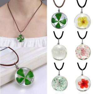Handmade Women Charm Glass Natural Dried Flower Nacklace Pendent Jewelry Gift