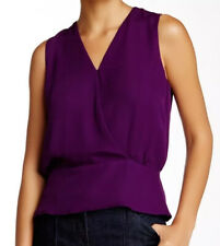 Theory M Purple Silk Top Camara Faux Wrap Deep V Neck $195 NWT