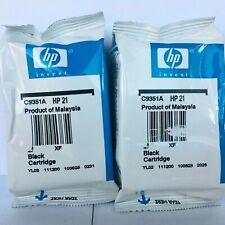 New Genuine HP 21 2PK Black Ink Cartridges C9351A, DeskJet 3930 v, DeskJet 3938