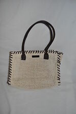 CREAM BASKETWEAVE PURSE HANDBAG CUTE