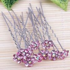 10PC PINK Crystal Flower Women Lady Girl Wedding Party Jewelry Hairpin Lots FB