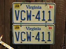 VA VINTAGE LICENSE PLATES PAIR VCW 411