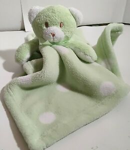 Blankets and Beyond Lovey Bear Green White Polka Dot Security Plush 18in Square
