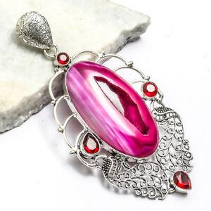 "Pink Window Agate, Red Garnet Handmade Ethnic Style Jewelry Pendant 4.56"" LL"