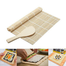 DIY Sushi Rolling Maker Roller Bamboo Material Mat Maker And A Rice Paddle Set