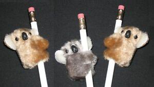"NEW 3 pc ""KOALAS Gray & Beige"" Pencil Huggers Furry Animal Birthday Party Favors"