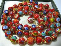 "Red Millefiori Venetian Murano Glass Bead 24"" Long Vintage Style NECKLACE"