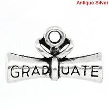 10 ANTIQUE SILVER GRADUATION DIPLOMA CHARM/PENDANT 21x13mm~Key Ring~Teacher(7H)