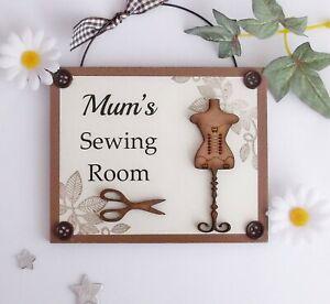 Mum's Sewing Room Wooden Plaque Door Hanger