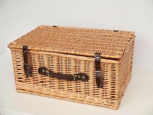 Vintage Large Wicker Basket Hamper Leather Strap Picnic Wedding Camper Storage