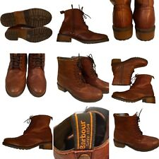 🌟Barbour Brown Leather Brogue Lace-Up Boots Size 7 Womens Victorian Chunky