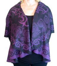 Pashmina Cashmere Wrap Purple Reversible Ruffled Shawl Poncho Cape One size