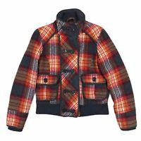 BKE Wool Blend Quilted Jacket Womens Size Medium Tartan Plaid Orange Red Gray
