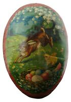 Antique German Paper Mache Easter Egg Candy Container Leaping Rabbit Egg Nest 5""