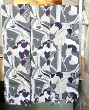"""IKEA """"Janette"""" 3 Panels 98"""" x 57"""" Gray White Eggplant Abstract Curtains"""